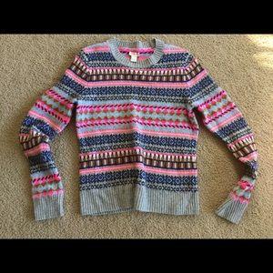 J. Crew Sweater Gray neon Aztec Tribal Crew Neck