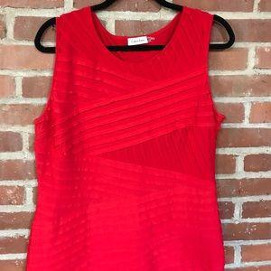 Calvin Klein red ruffle body con work wear dress