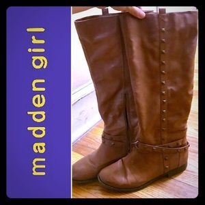 Tall Chestnut Brown Studded Boots from Madden Girl