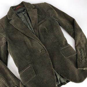 Zara Basic Corduroy One Button Blazer Dark Green