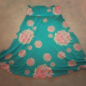 NWOT LuLaRoe Azure turquoise skirt size S floral