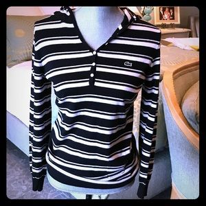 lacoste wmns black/crm striped knit hoodie sweater