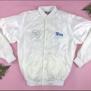 Vintage white satin bomber jacket members only