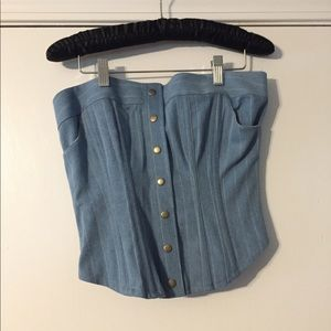 Blue and White Jean Style Corset