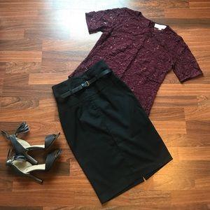 Black high waisted pencil skirt