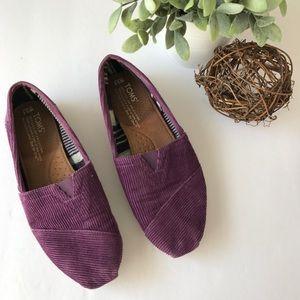TOMS Purple Season Corduroy Texture Flat Slip Ons