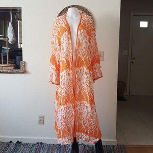 Orange print cover up