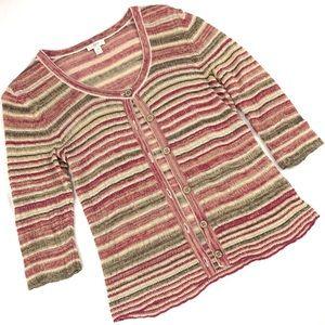 J. Jill Linen Blend Cardigan Sweater