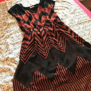 Orange & Black High Low Chevron Dress