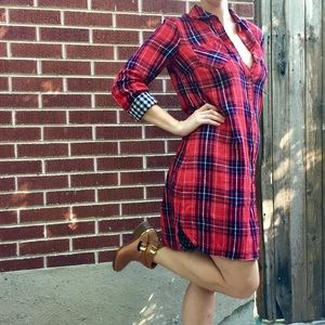 Red Grenadine Plaid Flannel Button Up Dress