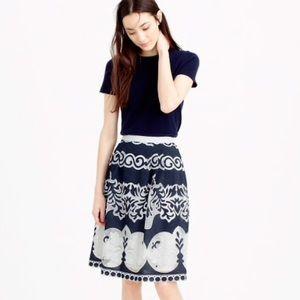 {J Crew} Midi Skirt In Ornate Lace / Blue White
