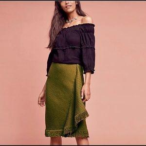 Anthropologie Rosie Neira Wrap Fringe Skirt | M