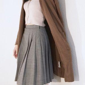 Sino Plaid Pleated High Waisted Knee Length Skirt