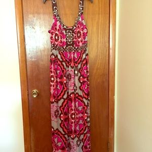 Plus size maxi dress with flattering empire waist
