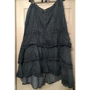 High - Low Ruffled Jean Skirt