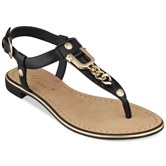 b7dbfd89d3d57 Guess Shoes - Women s Guess Rehan Black Flat Sandals size ...