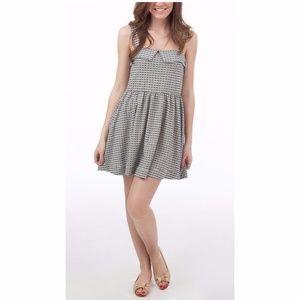 FP BEACH Gray Peter Pan Gingham Skater Dress sz M
