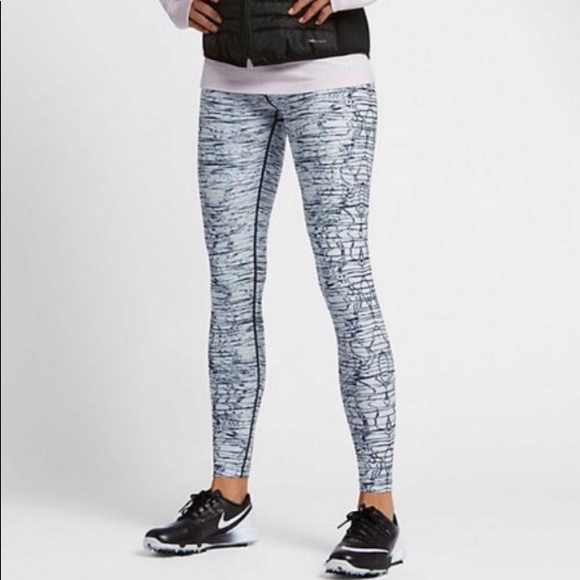 ecb0bc5ca61 NIKE WOMENS PRINTED TIGHTS Black Metallic Silver