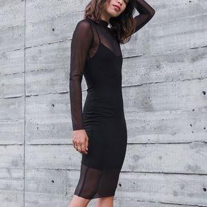 NWT Donna Mizani Mock Neck Mesh Midi Dress