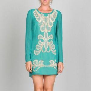 Emerald Embroidered Sheath Dress