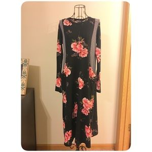 Floral Dress with Stripe Detail