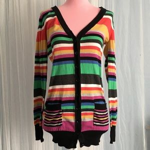 Forever 21 multicolor stripe button up cardigan