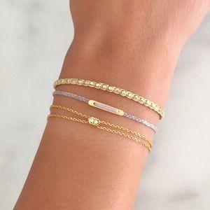 dainty gold beaded layering wrap bracelet
