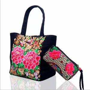 Handbags - New✨ Rose Embroidered Handbag & Coinbag 🌹