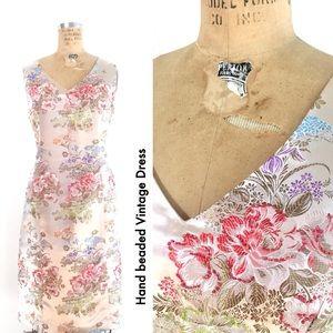 Pretty Vintage Wiggle Dress 80s, Hand beading!