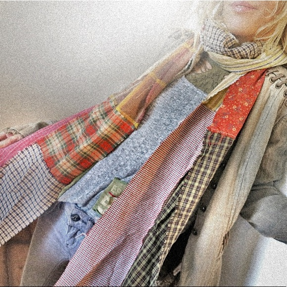 upcycled Accessories - Upcycled multi-pattern scarf // October Mist