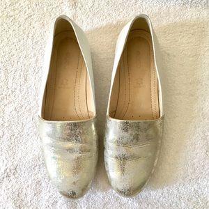 Ecco Shoes - Ecco White & Metallic Gold Flats 37
