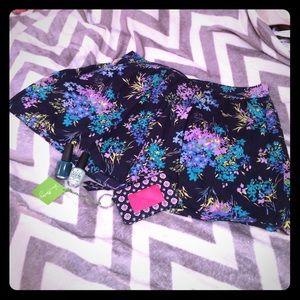 Loft navy blue floral pattern side zip skirt