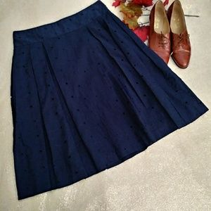 Navy Pleated A Line Eyelet Business Work Skirt