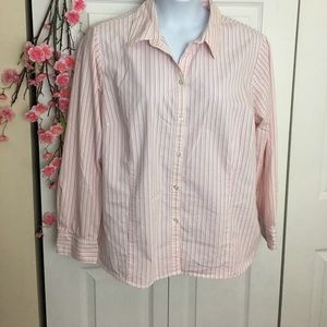 George blush Pink Striped Button Up Long Sleeve