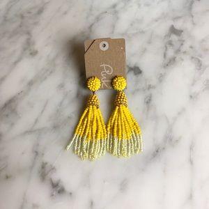 Jewelry - NWT Beaded tassel earrings - yellow