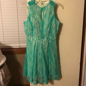 Mint green lace cutout dress