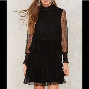 NWT Black Chiffon Tiered Dress