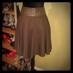 Trina Turk Olive green above the knee flared skirt