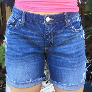 American Eagle Ripped Denim Long Shorts Size 8