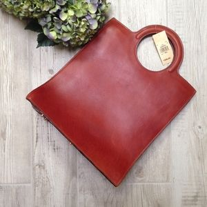 NWT Vintage Brown Leather Sturdy Shopper Tote
