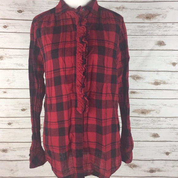 df472a38 GAP Tops | Large Plaid Shirt Red Black Ruffle | Poshmark