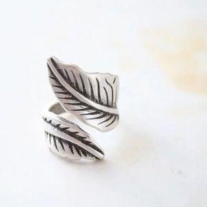 Adjustable Antique silver leaf ring