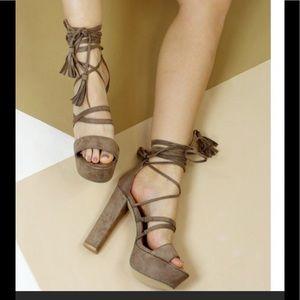 Truffle Platform beige Sandals with Tassel Ties