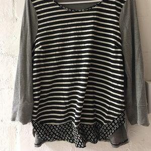 3/4 sleeve striped shirt