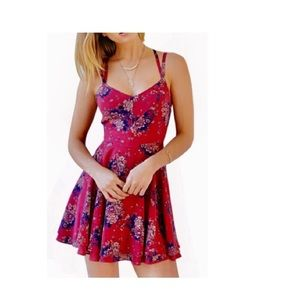 OASAP SLEEVELESS FLORAL PRINK BACKLESS FLARE DRESS