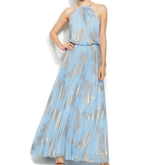 Xscape Dresses | Nwt Pleated Blouson Maxi Gown Bluegold Sz4 | Poshmark