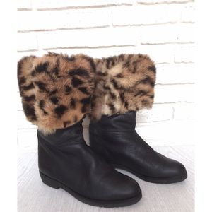 Vintage Leopard Fur Black Fold Over Winter Boots 8