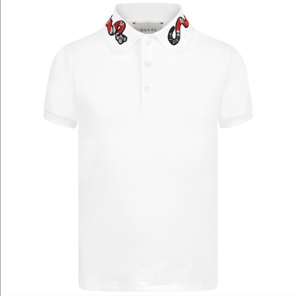 adc349fcde07 Gucci Shirts | White Shirt With Embroidered Snake Collar | Poshmark