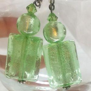 Jewelry - Glass, sea-foam green bead pierced earrings