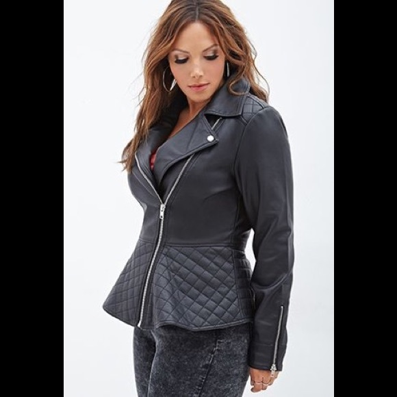 11b816a023b3 Forever 21 Jackets   Blazers - Forever 21 Plus Size Peplum Faux Leather  Jacket